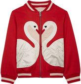 Stella McCartney Willow swan cotton-blend bomber jacket 4-16 years