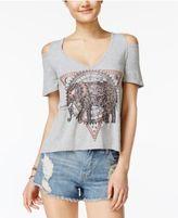 Self E Juniors' Cold-Shoulder Graphic T-Shirt