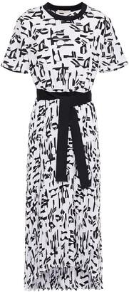 Maje Rosyla Printed Plisse Crepe De Chine Midi Dress