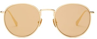 Kaleos - Dawson Round Metal Sunglasses - Womens - Gold