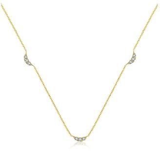 Genevieve Collection 18K Yellow Gold Moon Shape Diamond Necklace / Choker