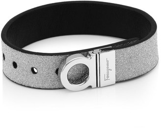 Salvatore Ferragamo Glitter Logo Leather Bracelet