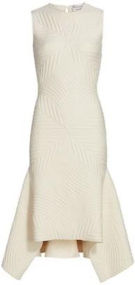 Alexander McQueen Sleeveless Asymmetric Matelasse Sheath Dress