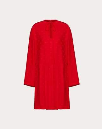 Valentino Mini Vlogo Satin Jacquard Pleated Dress Women Red 42