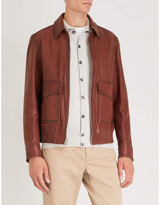 Michael Kors Flap-pocket leather bomber jacket