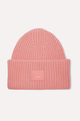 Acne Studios Pansy Face Appliqued Ribbed Wool Beanie - Pink