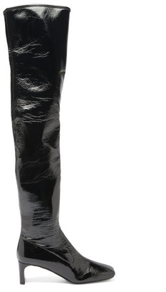 Prada Square-toe Patent-leather Over-the-knee Boots - Black
