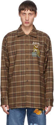 Doublet Brown Check Puppet Animal Shirt
