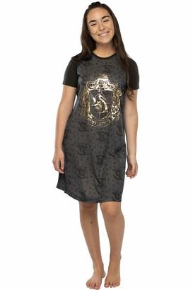 Intimo Harry Potter Juniors' Foil Print Hogwart Houses Raglan Nightgown - (Hufflepuff LG)