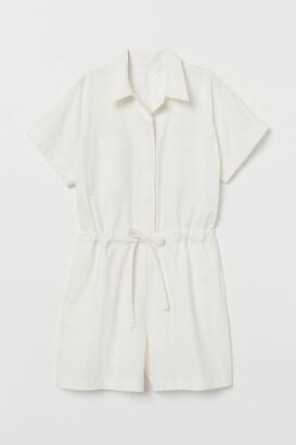 H&M Cotton Romper - White