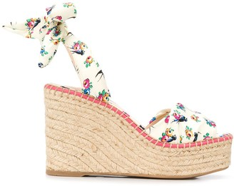 Prada Floral Pattern Wedge Sandals