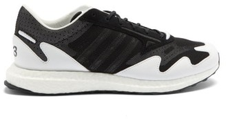 Y-3 Rhisu Run Mesh And Leather Trainers - Black And White
