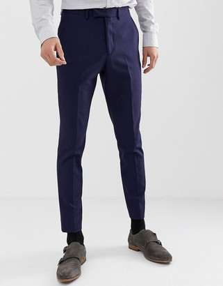Moss Bros muscle fit suit pants in navy