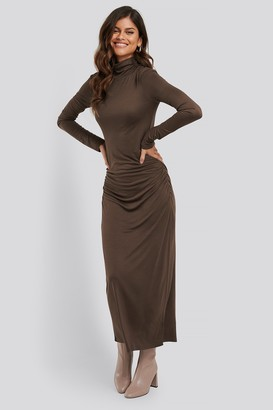 NA-KD Draped Polo Neck Dress