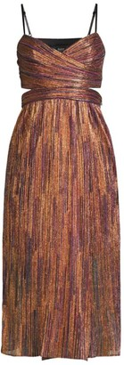 Aidan Mattox Pleated Cutout Mid-Length Dress