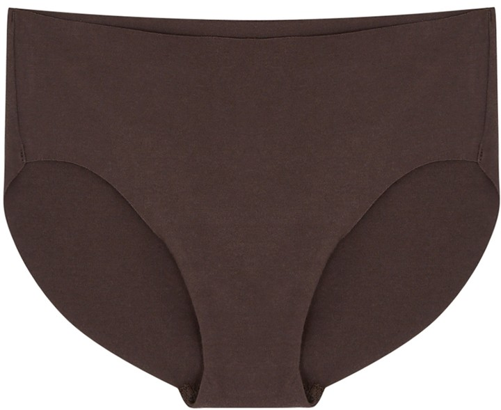 Thumbnail for your product : Hanro Invisible Dark Brown Stretch-cotton Briefs