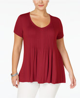 American Rag Trendy Plus Size Pintucked Top, Created for Macy's