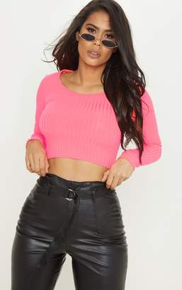 PrettyLittleThing Neon Pink Scoop Neck Long Sleeve Crop Top
