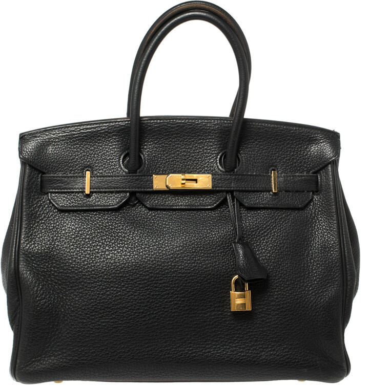 Hermes Black Clemence Leather Gold Hardware Birkin 35 Bag