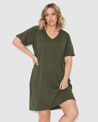 17 Sundays - Women's Green Midi Dresses - Tee Dress - Size One Size, XS (12) at The Iconic