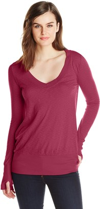 LAmade Women's Slub Jersey Long Sleeve Wide V Neck Top