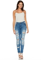 Quiz Blue Denim Ripped Skinny Jeans
