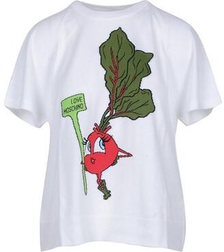 Love Moschino Embroidery White Cotton Women's T-Shirt