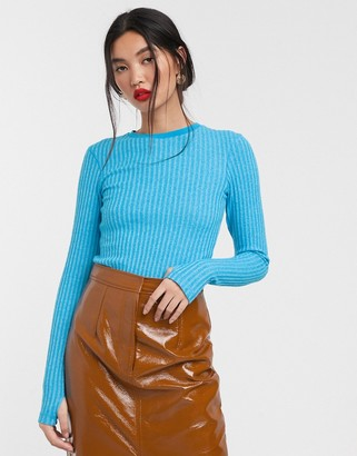 ASOS turquoise rib long sleeved bodysuit