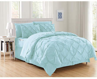 Elegant Comfort 8-Piece Pintuck Bed-in-a-Bag Comforter Set Includes Bed Sheet Set with Double Sided Storage Pockets Full/Queen Bedding