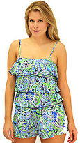 Fit 4 U Hips Whimsical Paisley Three-Tiered Romper