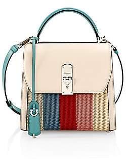 Salvatore Ferragamo Women's Medium Boxyz Knit Leather Top Handle Bag