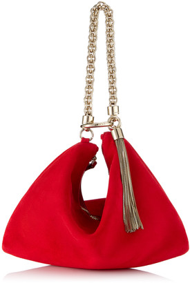 Jimmy Choo CALLIE Red Suede Clutch Bag with Chain Strap