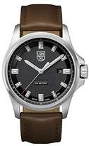 Luminox Dress Field Men's Quartz watch with Black dial featuring LLT light Technology 42 millimeters Stainless Steel case and Brown Leather Strap XL.1831