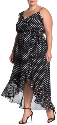 City Chic Spot Dot Faux Wrap High/Low Dress (Plus Size)