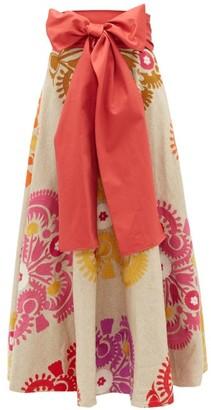 Marta Ferri - Waist-tie Floral-embroidered Herringbone Skirt - Red Multi