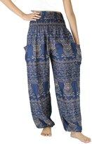 NaLuck Women's Boho Hobo Hippie Owl print Smocked Waist Yoga Casual Harem Pants PJ25