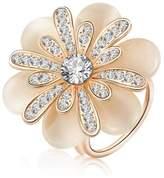 XY Fancy Elegant Rhinestone Camellia Flower Scarf Buckle Three Ring Shawl Ring