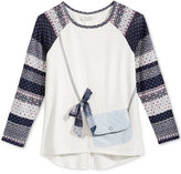 Jessica Simpson Bow Purse-Pocket Long-Sleeve T-Shirt, Big Girls (7-16)