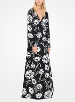 Michael Kors Floral-Embroidered Wool-Tricotine Gown