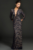 Jovani 23662 Lace Illusion Jewel Sheath Dress