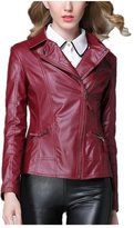 Huafeiwude Womens Cool Slim Fit Faux Leather Motorcycle Short Jacket S