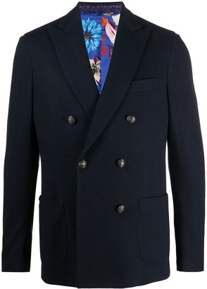 Etro Double Breasted Herringbone Blazer