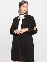 ELOQUII Plus Size Tie Neck Split Sleeve Dress
