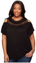 Lucky Brand Plus Size Cold Shoulder Crochet Top