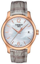 Tissot T0632103711700 Women's Tradition Date Leather Strap Watch, Grey/Mother of Pearl
