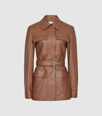 Reiss Wynee - Leather Belted Jacket in Tan