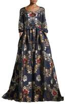 Carolina Herrera Floral Floor-Length Gown