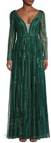 Thumbnail for your product : Mac Duggal Sequin Stripe V-Neck Gown