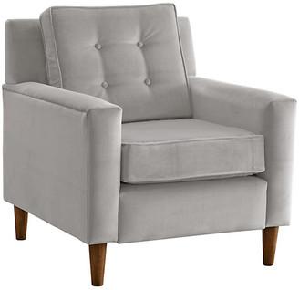 One Kings Lane Winston Club Chair - Light Gray Velvet