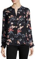 Joie Divitri Floral-Print Georgette Top, Black